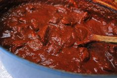 Homemade Chile Colorado -- beef cubes simmered slowly until meltingly tender, in a rich chile sauce. Use grapeseed oil for D-Burn or Phase 3.