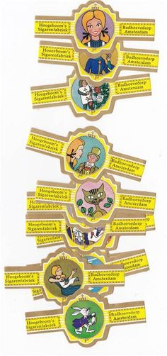 Alice in Wonderland on cigar bands from the sixties, €2.50