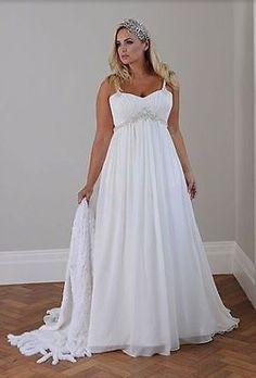New White/ivory Bridal Gown Chiffon Wedding Dress Plus Size16 18 20 22 24 26 28W