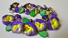 Purple Yellow Pansy Flower Bracelet by Diaszabo on Etsy, $30.00