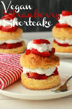 Vegan Strawberry Shortcake. Golden brown shortcakes layered with strawberries and vegan whipped cream for a fabulous dessert! #vegan #lovingitvegan #dessert #dairyfree