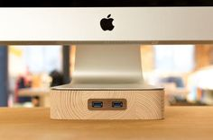 Wooden stand and USB for iMac