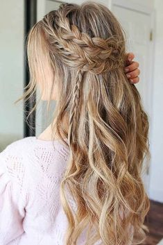 "A Boho Festive Look ❤️ A headband braid, also known as a crown or a halo bra. "" Boho Hairstyles, A Boho Festive Look ❤️ A headband braid, also known as a crown or a halo braid, is a cute half updo or updo hairstyle with a braid around a head. Prom Hairstyles For Long Hair, Romantic Hairstyles, Headband Hairstyles, Down Hairstyles, Braided Hairstyles, Wedding Hairstyles, Updo Hairstyle, Hairstyles Haircuts, Semi Formal Hairstyles"