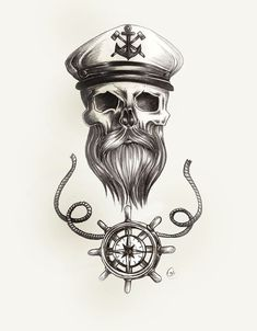 beard skull nautical tattoo pencil sketch with sailor captains hat and steering wheel with rope deta Skull Tattoos, Sleeve Tattoos, Tattoo Sketches, Tattoo Drawings, Couple Tattoos, Tattoos For Guys, Tattoo Homme, Nautical Tattoo Sleeve, Poker Tattoo