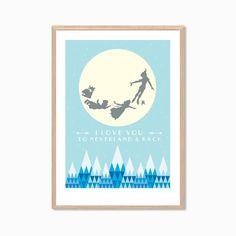 PETER PAN | I Love You From Here To Neverland Poster : Walt Disney Modern Illustration Retro Art Wall Decor Print