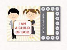 Printable LDS Primary Articles of Faith Punch Card from ONEWORD Designs