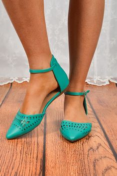 Turquoise Ankle-Strap Flats