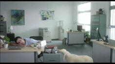 Sleepy office guy literally counts Sheep