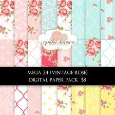 Vintage Rose Digital Paper Pack. $8.00, via Etsy.