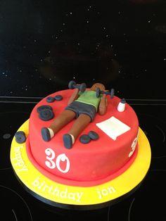 Gym themed birthday cake.