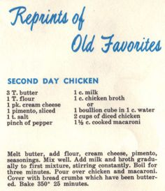 Vintage Recipe For Second Day Chicken (1961)