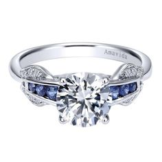 18k White Gold Diamond  And Sapphire Free Form Engagement Ring