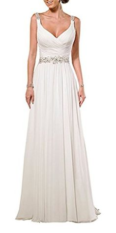 QueenBridal Beach VNeck Ghiffon Pleat Ruching Backless Wedding Dresses >>> See this great product.