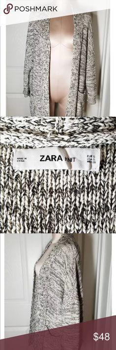 Zara Knit Chunky Marled Gray Oversized Sweater S