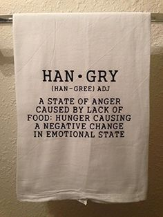 #checkitout Hangry Dish #Towel - A humorous and functional addition to your #kitchen decor. This will look great on your oven handle and make you smile whenever y...