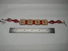 LOVE Scrabble Tile Bracelet by NonSequiturShoppe on Etsy, $20.00