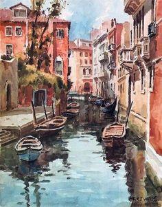 Watercolor Venice canal boasts buildings