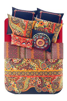 The Josie by Natori Hollywood Boho Duvet Cover Set's eclectic design is unique and eyecatching. The duvet cover features a vibrant paisley and medallion print in bold shades of orange and citron on a Zara Home, Duvet Cover Sets, Comforter Sets, Blue Comforter, Boho Comforters, Bedspreads, Boho Duvet Cover, Motifs Textiles, Ikea