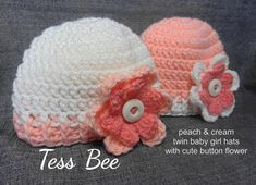 Baby Girl Twin Hats Flower Hats Baby Girl Beanies 2 Baby | Etsy Baby Girl Beanies, Baby Hats, Cute Crochet, Hand Crochet, Twin Baby Girls, Cute Twins, How To Have Twins, Flower Hats, 2nd Baby
