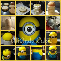 Minion step by step cake by AliAnda Cakes.  www.facebook.com/AliAndaCakes
