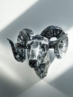 Louie Ram Head by Interior Illusions on Gilt Home maybe better in white lacquer tho? with all these nice ram heads, i might have to marry an aries. or a goat farmer. Sculpture Art, Sculptures, Garden Sculpture, Blacksmith Projects, Forging Metal, Animal Heads, Home Art, Metal Working, Illusions