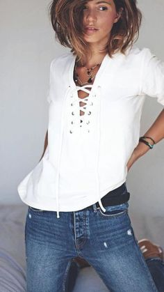 Si! Soft fitted denim jeans, boots, statement-belt and partially tucked billowy white blouson/shirt avec lacing or cuffs or collars, and of course sumptuous lingerie ~ Cortigiana 2017 - who sells lingerie, lingerie xxx, luxury lingerie *ad