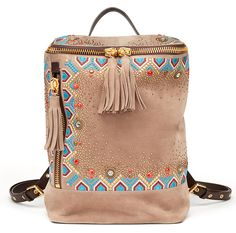 Sac à dos Gipsy en suede beige et broderies giuseppe zanotti