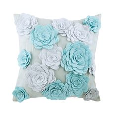 """Sky Blue Couch Pillow 16""""x 16"""" Decorative Couch Cushion 3D Felt Roses Pillow Custom Modern Style Home Decor Cushion - Whispering Roses"""