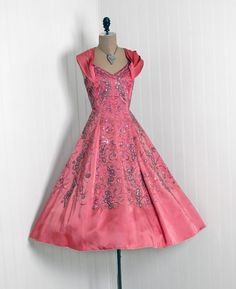 1950's Exquisite Rose-Pink Rhinestone Heavily-Beaded Sequin Silk-Satin  *Seductive Low-Cut Plunge Fully-Boned Heavily-Pleated Shawl-Halter Bodice  *Cocktail-Length Bombshell Nipped-Waist Princess Full Circle-Skirt Design