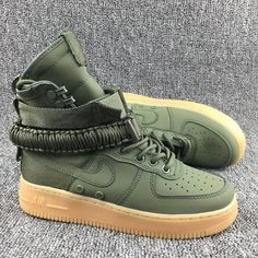 promo code a440a 2ddfd Femme Homme Nike Special Forces Air Force 1 High Boots Vert Marron Pas Cher