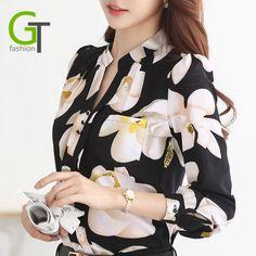 a003949c70 New 2018 Autumn Fashion V Neck Chiffon Blouses Slim Women Chiffon Blouse  Office Work Wear shirts Women Tops Plus Size Blusas-in Blouses   Shirts  from ...