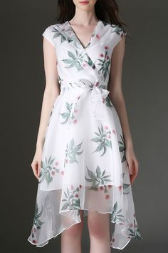 V Neck Floral Print Asymmetrical Dress