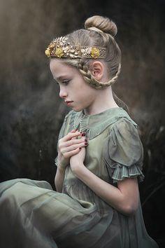 Ruby gold floral crown kids children hairstyles braid long hair victorian vintage dress flower girl ideas child portrait Buffalo NY Kristen Rice