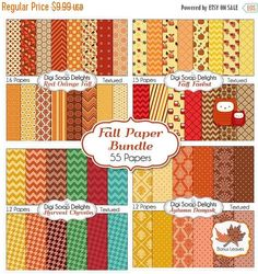 50% OFF TODAY Fall Digital Papers Bundle w Leaf & Owls Clip Art for Digital Scrapbooking, Fall Card Making, Brown, Orange, Gold Linen Texture  #Scrapbooking #Fall #Autumn #Scrapbookingkits #DigiScrapDelights #ClipArt #Harvest #DigitalPapers