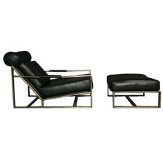 View Leather and bronze lounge chair and ottoman by Milo Baughman on artnet. Browse more artworks Milo Baughman from Noho Modern. Chair And Ottoman, Sofa Chair, Armchair, Antique Chairs, Vintage Chairs, Steel Furniture, Cool Furniture, Design Furniture, Chair Design