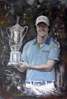 Rory mcIlroy painting by Mark Robinson from the Collection 'Open Champions'.. #golf #art