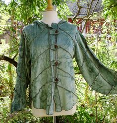 Leafy Elf Hoody upcycled rayon velour womens L/XL. $120.00, via Etsy.    Leaf enclosures - cool