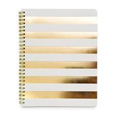 Sugar Paper Cabana Stripe Gold Foil Notebook
