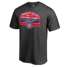 Men's Chicago Cubs Heathered Gray 2016 World Series Champions Sign Win T-Shirt