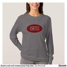 Asatru red oval women gray long sleeve shirt