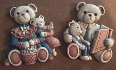 Vintage 1970s Homco Teddy Bear Family, Mama, Daddy, Sister, and Brother Wall Hanging, Adorable Pair - pinned by pin4etsy.com