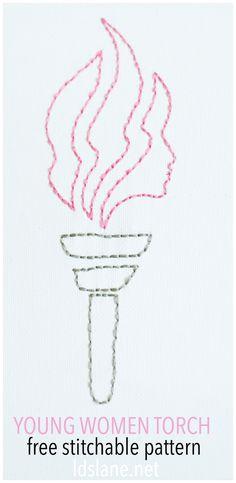 LDS Young Women Torch - free stitching pattern at ldslane.net