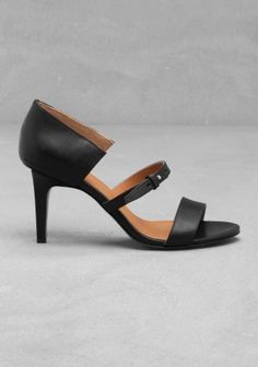 & OTHER STORIES These leather sandals have a slightly angled front strap, a thin strap with a gold push-through fastener and suede-lined, covered heels.  Heel height: 7.5 cm Platform height: 0.5 cm.