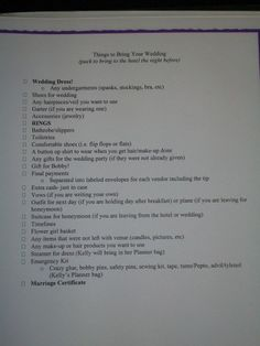 Checklist for Night before/Day of Wedding a Must Have! Created by Kelly of Hoppy Bottoms