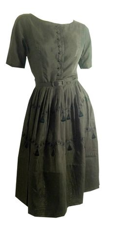 Tromp L'Oeil Tassel Trimmed Chocolate Brown Cotton Dress circa 1960s - Dorothea's Closet Vintage