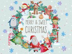 Watercolour Christmas Elements Clipart Set/Christmas/Christmas…