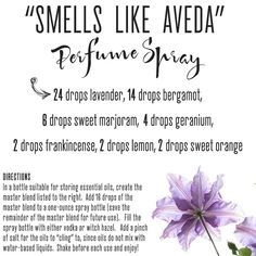 make perfume that smells like Aveda with essential oils Essential Oil Perfume, Doterra Essential Oils, Young Living Essential Oils, Essential Oil Diffuser, Essential Oil Blends, Perfume Fahrenheit, Perfume Invictus, Perfume Recipes, Living Oils