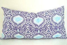 Purple, Pillow Cover, Bohemian Bedding, Girl Bedroom Decor, 12 x 22 Inch, Purple Ikat Pillow, Blue Ikat Pillow, Bohemian Decor, Ikat pillow