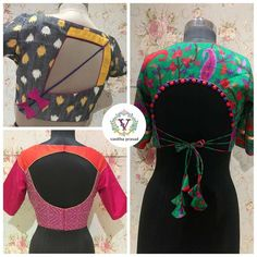 Beautiful designer blouse with unique style from Vanitha Couture. 14 August 2017