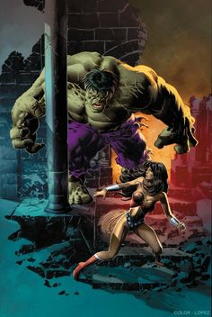 Hulk vs Wonder Woman Art by Mike Deodato Jr. Marvel Comics, Rogue Comics, Arte Dc Comics, Hulk Marvel, Marvel Heroes, Hulk Comic, Hulk Avengers, Captain Marvel, Comic Book Characters